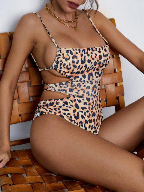 unique ZAFUL Leopard Cutout Ribbed One-piece Swimsuit - COFFEE S Mobile