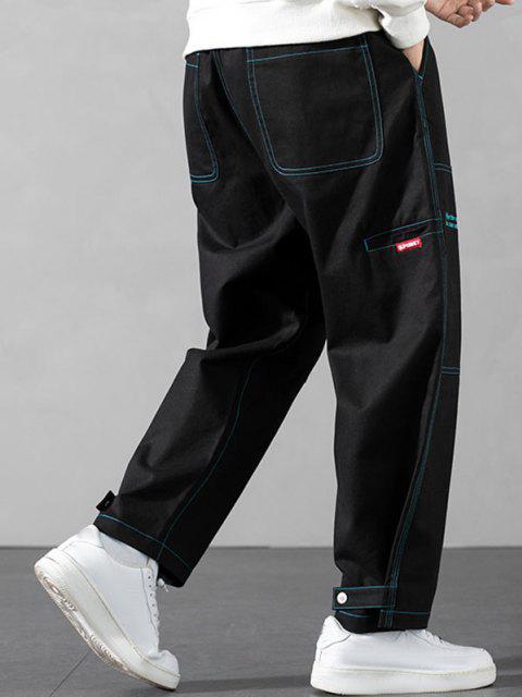 Pantalones Contraste Costuras y Bordado - Negro L Mobile