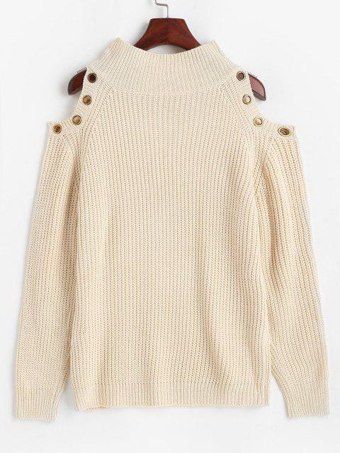 affordable ZAFUL Grommet Cold Shoulder Mock Neck Sweater - LIGHT COFFEE S Mobile