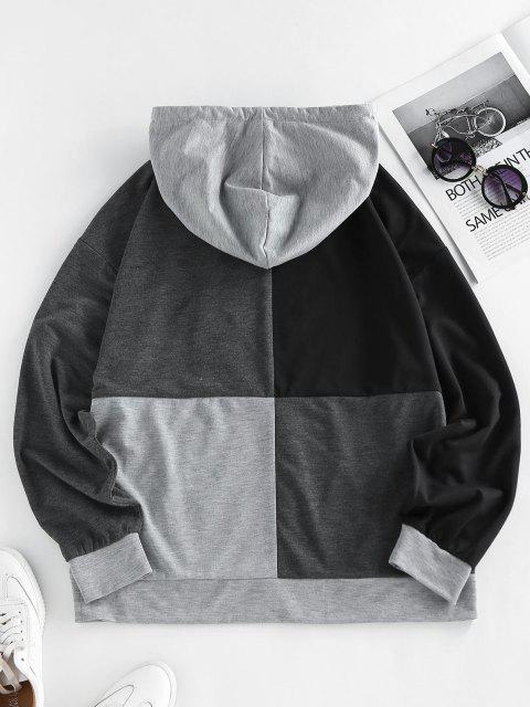 ZAFUL  Kangaroo Pocket Colorblock Hoodie - ليل S Mobile