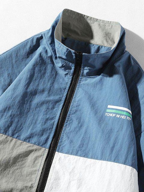 shops Colorblock Miss You And She Letter Print Panel Jacket - BLUE 3XL Mobile