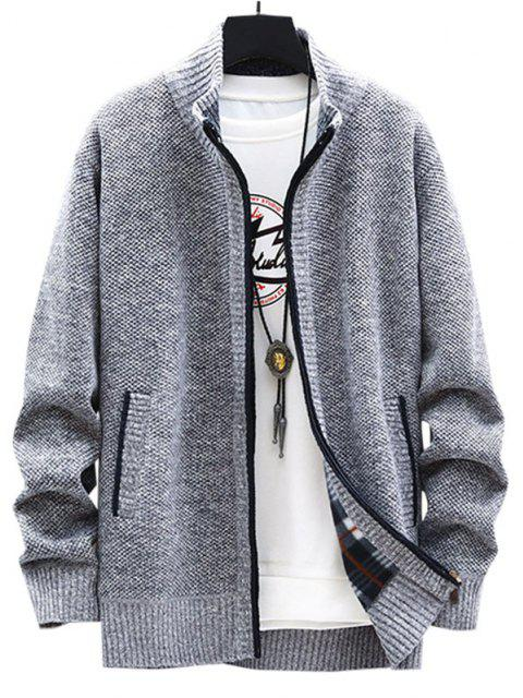 best Front Pocket Zip Up Fleece Cardigan - LIGHT GRAY XS Mobile