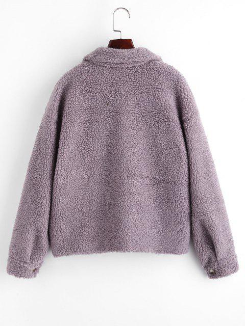 ZAFUL Abrigo de Teddy con Bolsillos Solapa de Botón - Púrpura S Mobile