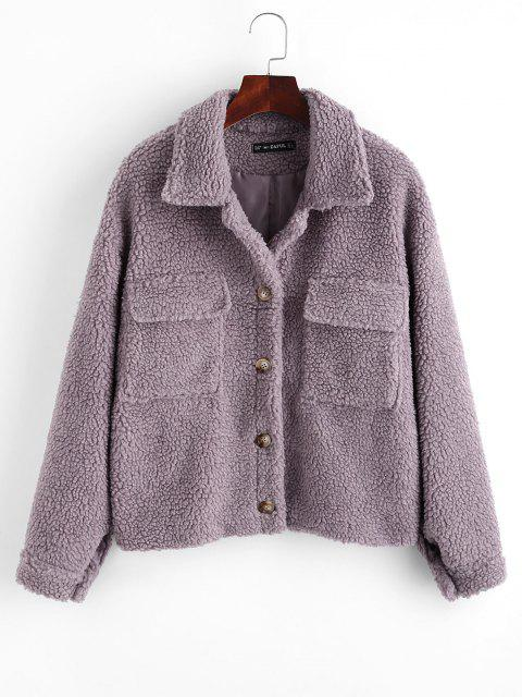 ZAFUL Button Up Flap Pockets Teddy Coat - أرجواني S Mobile