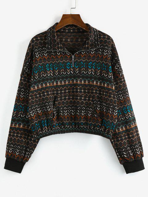 ZAFUL Tribal Drop Shoulder Quarter Zip Sweatshirt - متعددة-A S Mobile