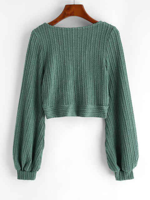 women's Cable Knit Surplice Cropped Knitwear - GREEN S Mobile
