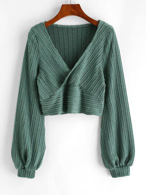 ladies Cable Knit Surplice Cropped Knitwear - GREEN M Mobile