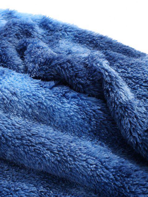 women's Tie Dye Fluffy Front Pocket Hoodie - BLUE L Mobile