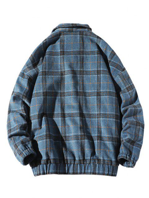 hot He Is A Boy Embroidery Plaid Button Up Jacket - BLUE M Mobile