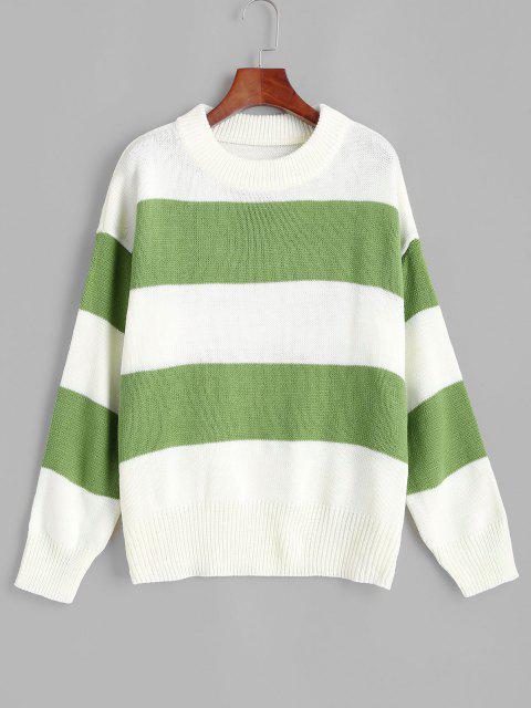 ZAFULドロップショルダー配色ストライプセーター - 深緑 S Mobile