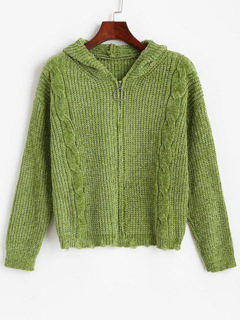 ladies ZAFUL Zip Up Ripped Cable Knit Chenille Cardigan - DEEP GREEN S Mobile