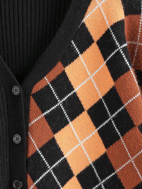 buy ZAFUL Ribbed Argyle Drop Shoulder Cardigan - BLACK S Mobile