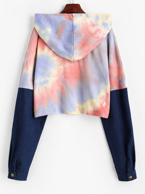 womens Drawstring Denim Panel Tie Dye Hoodie - MULTI-A M Mobile