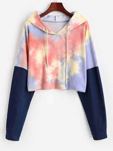 sale Drawstring Denim Panel Tie Dye Hoodie - MULTI-A L Mobile