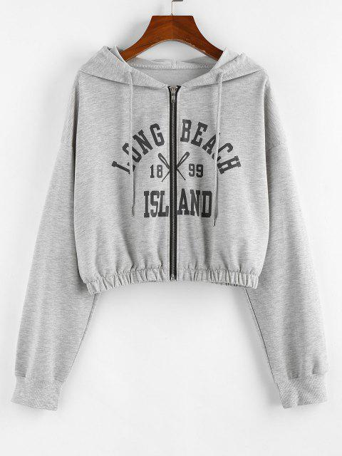 shops ZAFUL Letter Drop Shoulder Zipper Crop Hoodie - LIGHT GRAY L Mobile