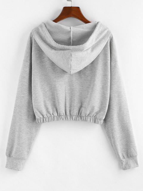 fashion ZAFUL Letter Drop Shoulder Zipper Crop Hoodie - LIGHT GRAY XL Mobile