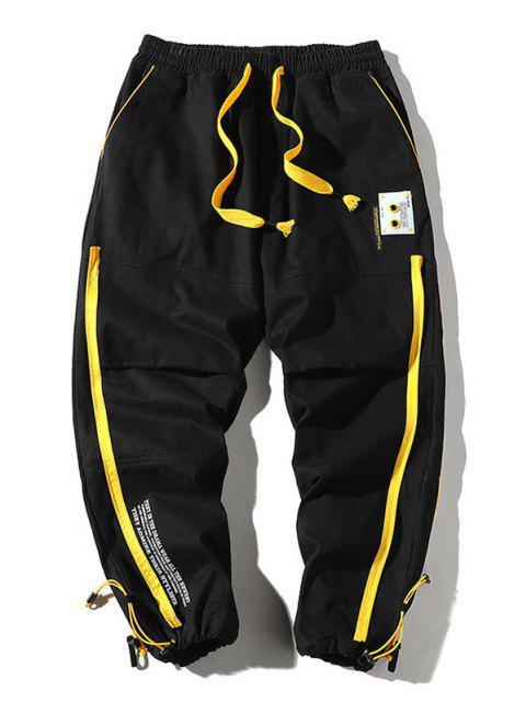 Pantalones a Pies con Estampado de Letras y Cremallera - Negro S Mobile