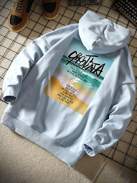 buy Beach Waves Letter Pattern Graphic Hoodie - LIGHT BLUE XL Mobile