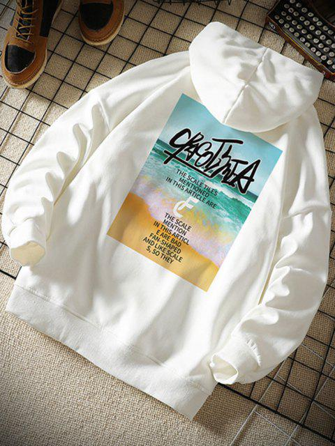 womens Beach Waves Letter Pattern Graphic Hoodie - WHITE S Mobile