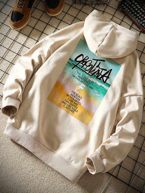 new Beach Waves Letter Pattern Graphic Hoodie - KHAKI 2XL Mobile