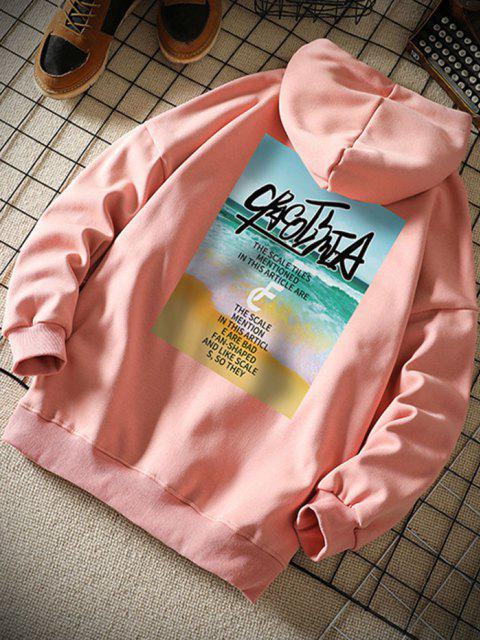 women Beach Waves Letter Pattern Graphic Hoodie - PINK S Mobile