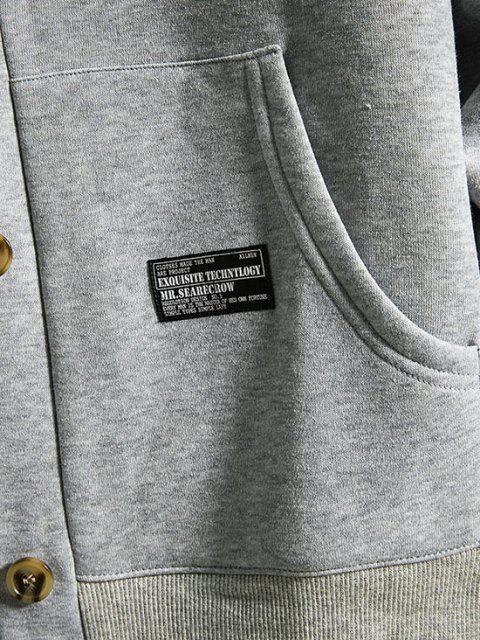 hot Hooded Button Up Applique Fleece Jacket - LIGHT GRAY M Mobile