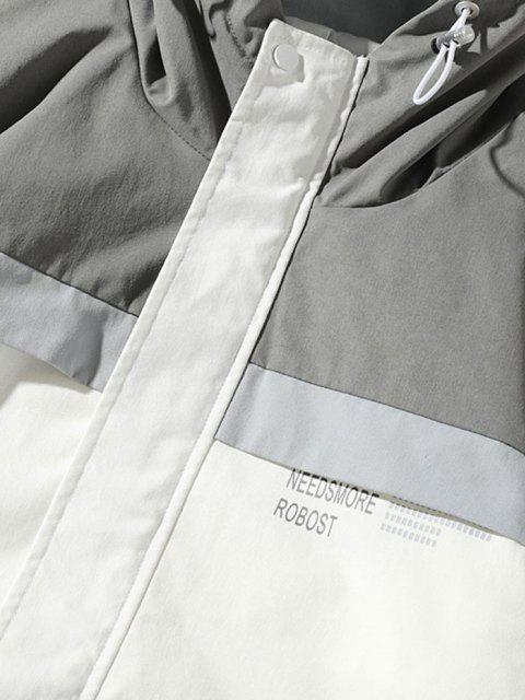 Veste à Capuche Panneau en Blocs de Couleurs Motif de Lettre - Blanc XL Mobile