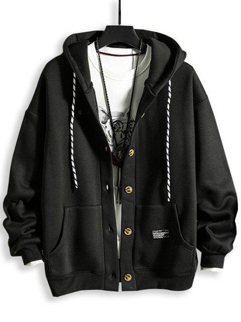 Veste à Capuche Applique Boutonnée en Laine - Noir 3XL Mobile