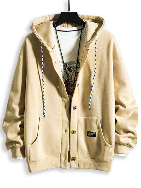 chic Hooded Button Up Applique Fleece Jacket - KHAKI 3XL Mobile