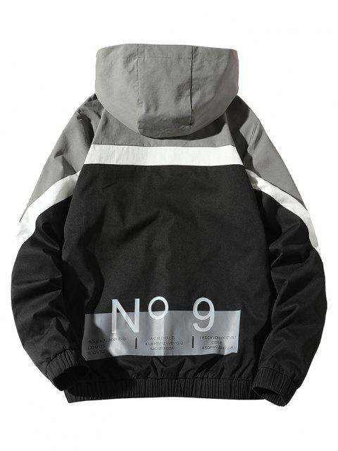 Colorblock Panel Letter Pattern Hooded Jacket - أسود S Mobile