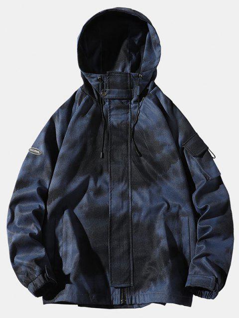 タイダイ印刷ラグランスリーブフードジャケット - 青 3XL Mobile