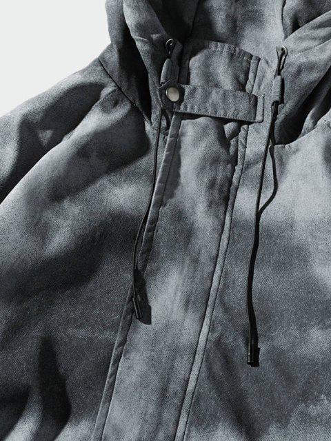 online Tie Dye Print Raglan Sleeve Hooded Jacket - GRAY 2XL Mobile