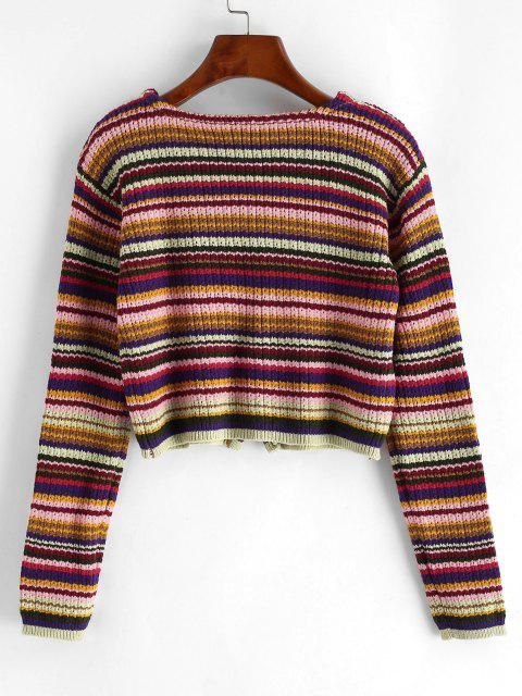 womens Button Up Cropped Colorful Stripes Cardigan - MULTI-A ONE SIZE Mobile