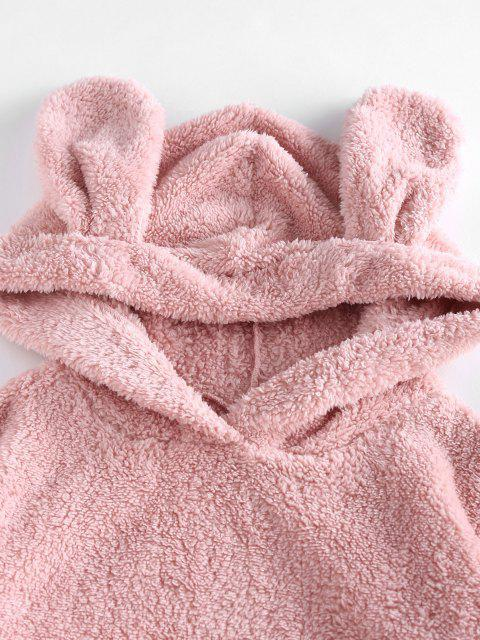 shops ZAFUL Plush Ear Hooded Drop Shoulder Pajama Pants Set - PINK M Mobile
