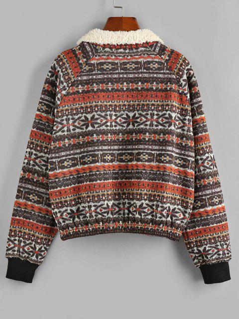 ZAFUL Tribal Faux Shearling Collar Quarter Zip Sweatshirt - أسمر M Mobile
