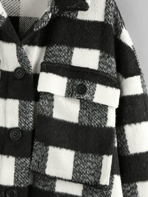 women's ZAFUL Checkered Drop Shoulder Pocket Coat - BLACK S Mobile