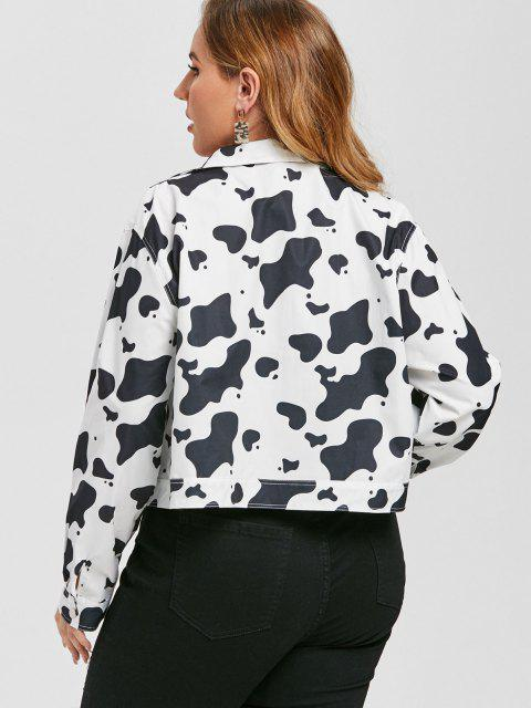 Plus Size Cow Print Cargo Jacket - Weiß L Mobile