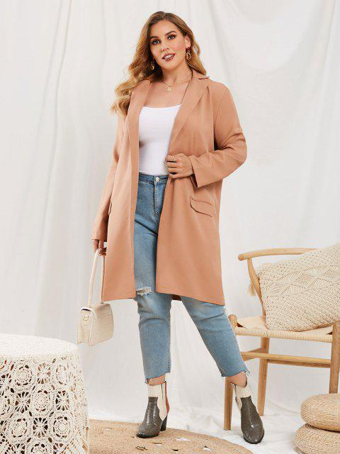 ladies Plus Size Flap Detail Open Front Coat - LIGHT COFFEE 4XL Mobile