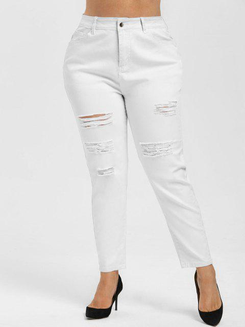 Tamaño más alta subida Ripped Jeans Armarios - Blanco 1X Mobile