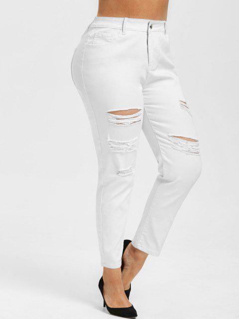 Tamaño más alta subida Ripped Jeans Armarios - Blanco 4X Mobile