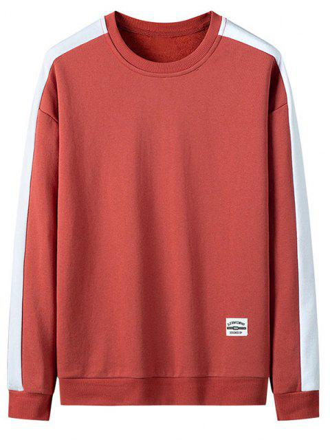 online Drop Shoulder Applique Contrast Sweatshirt - RED XS Mobile