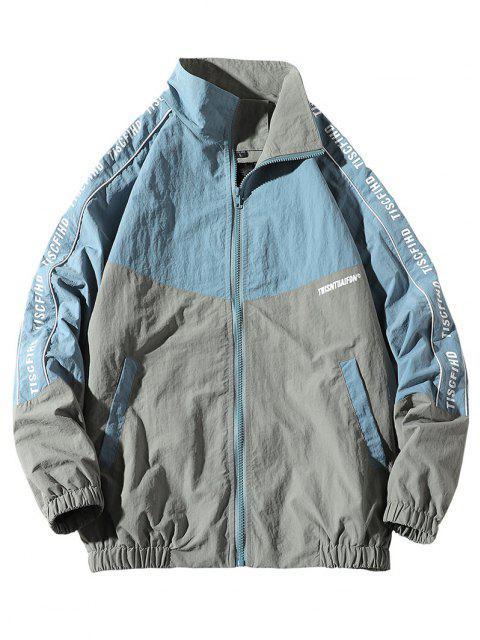 buy Letter Print Colorblock Raglan Sleeve Jacket - BLUE L Mobile
