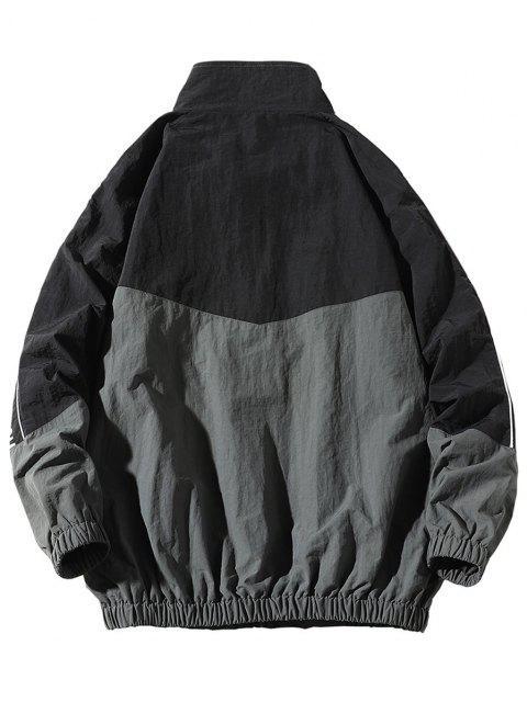 Veste Lettre Imprimée en Blocs de Couleurs à Manches Raglan - Noir 3XL Mobile
