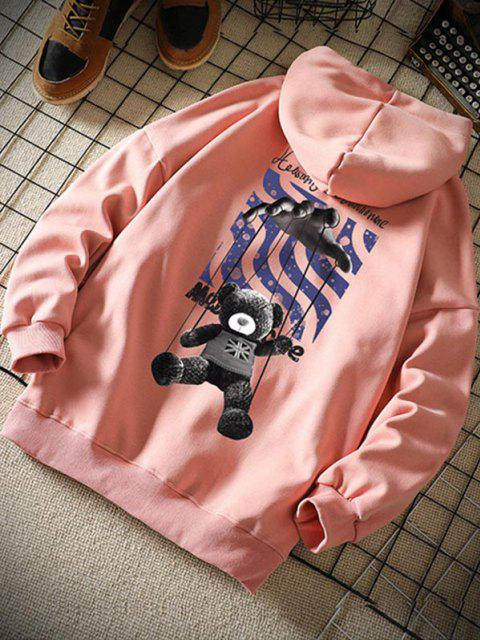 chic Toy Bear Letter Graphic Drop Shoulder Hoodie - PINK XL Mobile