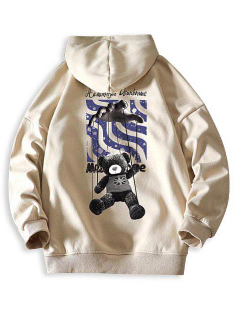 new Toy Bear Letter Graphic Drop Shoulder Hoodie - KHAKI S Mobile