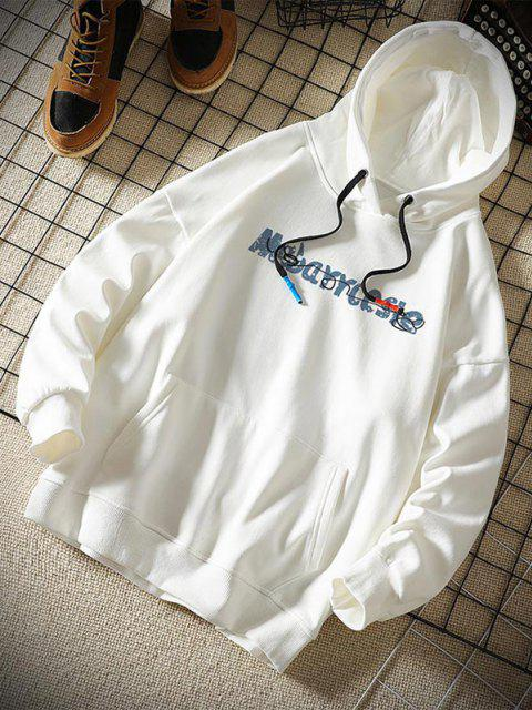 women Toy Bear Letter Graphic Drop Shoulder Hoodie - WHITE S Mobile