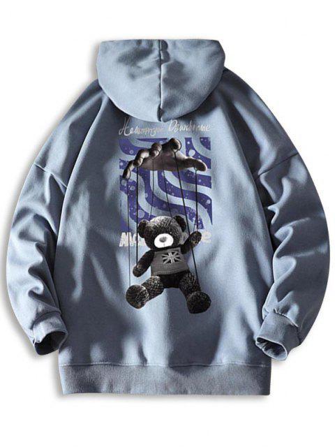 women Toy Bear Letter Graphic Drop Shoulder Hoodie - JEANS BLUE 2XL Mobile