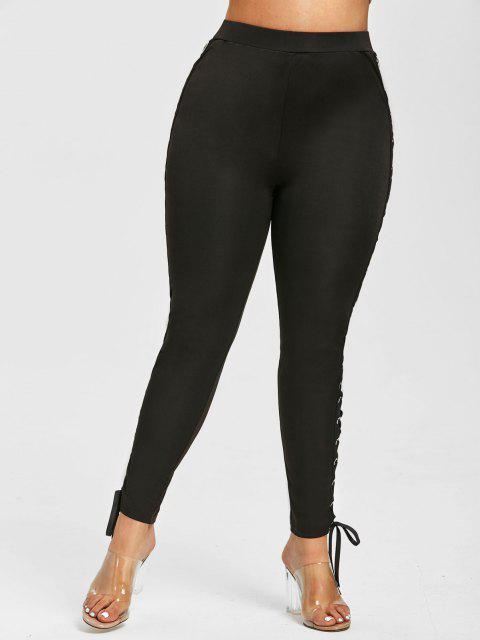 Plus Size Punk Grommets Lace Up Pants - أسود 5X Mobile