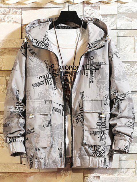 sale Hooded Graphic Print Double Pockets Jacket - GRAY 2XL Mobile