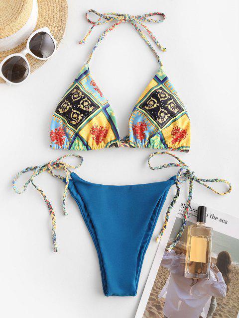 ZAFUL Bikini de Halter Trenzado con Estampado de Bufanda - Multicolor S Mobile